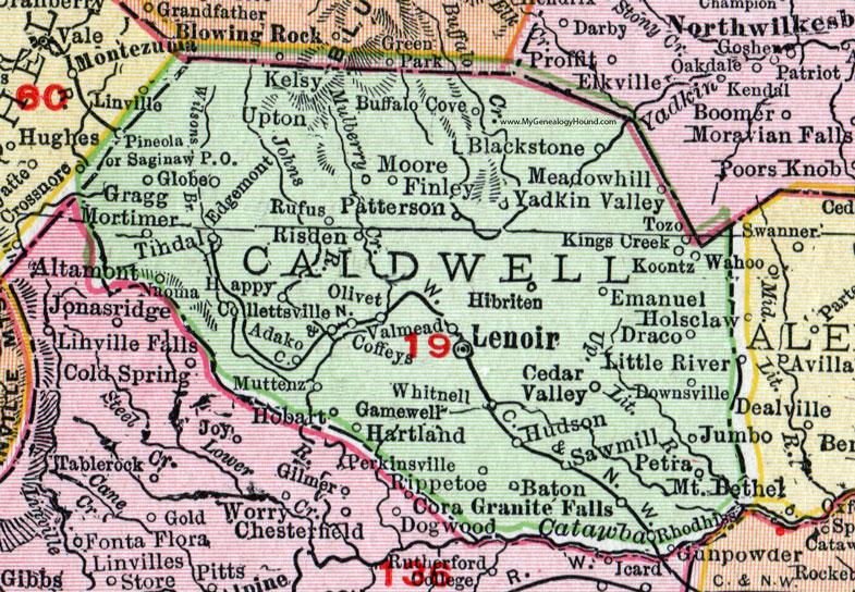 Caldwell County North Carolina 1911 Map Rand Mcnally Lenoir
