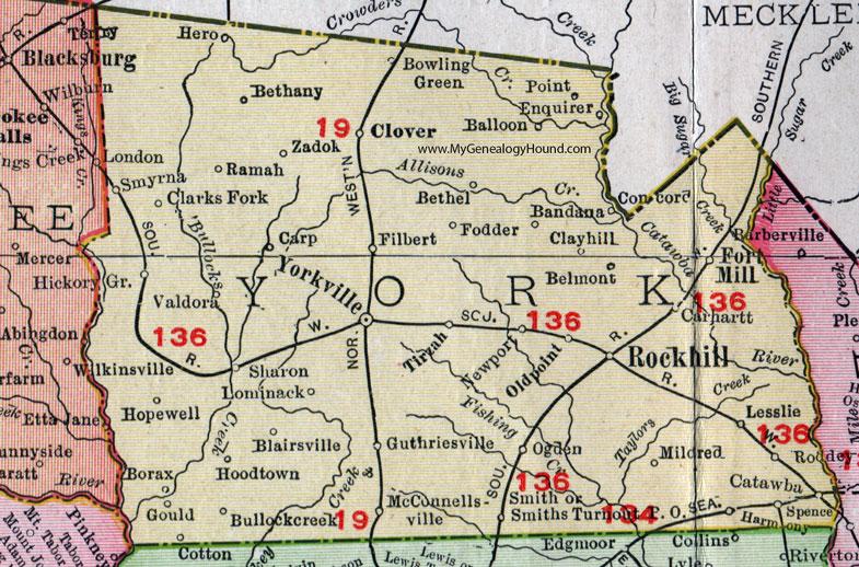 York County South Carolina 1911 Map Rand Mcnally City Of York