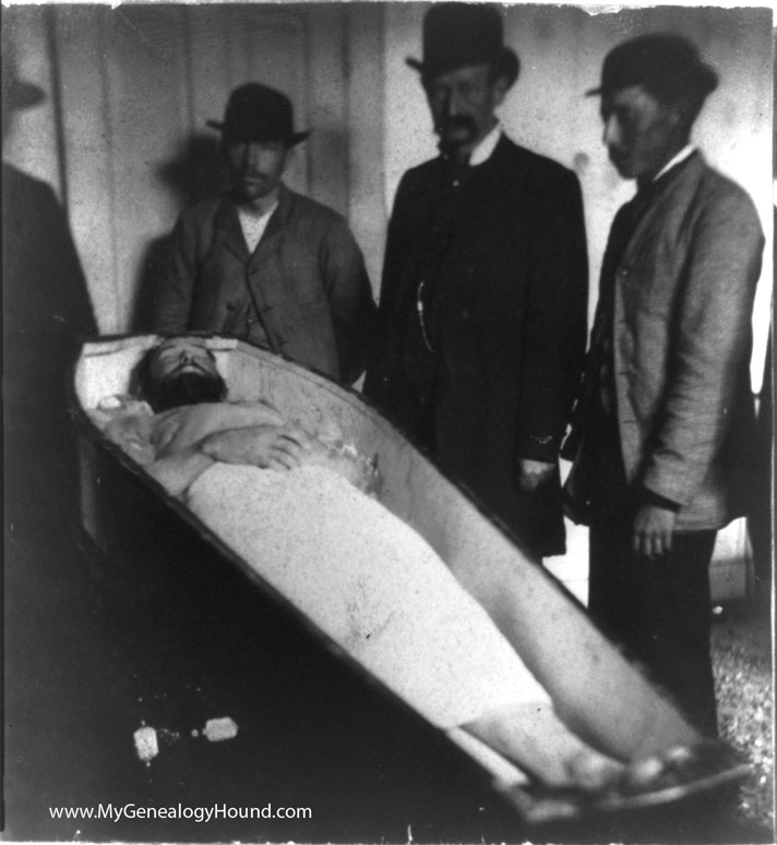The body of Jesse James after his assassination, 1882